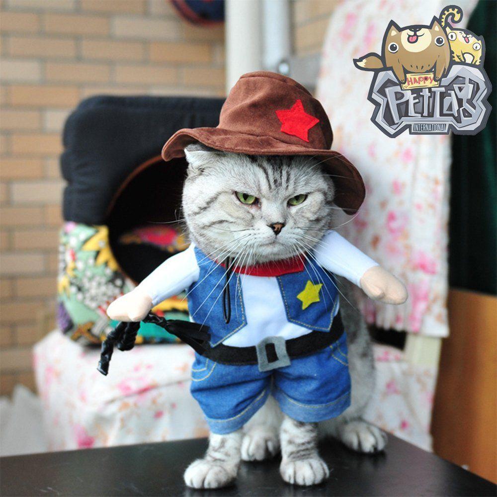 Happycattag Premium Cowboy Cat Costume 2 Legs All In One Xxs M