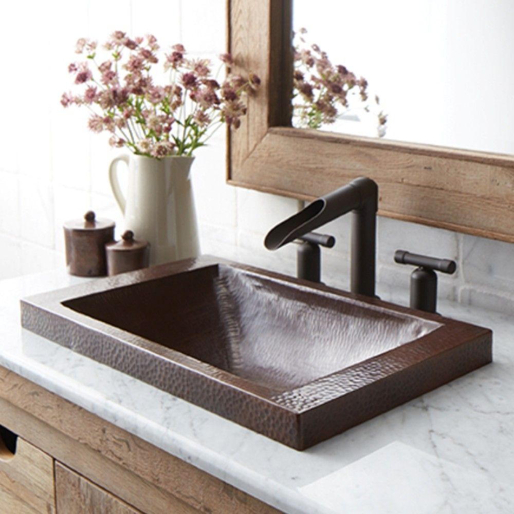 Hana 20 Inch Copper Drop In Bathroom Sink Kupfer Badezimmer