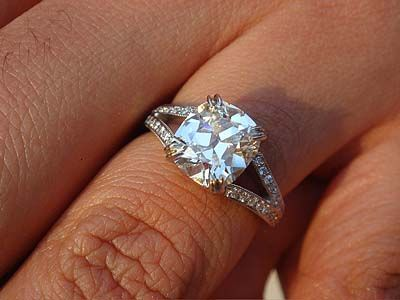 Our Mark T Maytal Ring Split shank Shank and Cushion cut