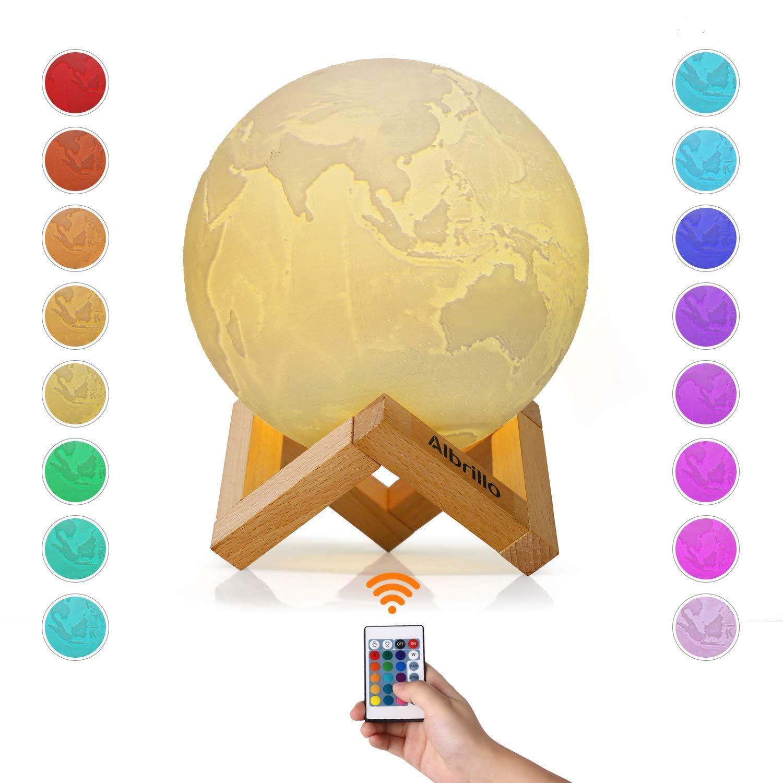 Albrillo Rgb 3d Erde Lampe 15cm Mit Remote Touch Control 16 Lichtfarben Und Dimmbar Nachtlicht Usb Wiederaufladbar Als Deko U Nachtlicht Nachtleuchte Lampe