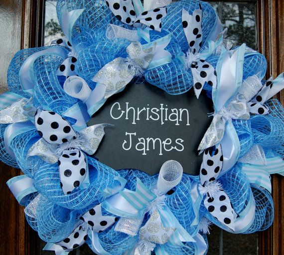 Baby boy wreath hospital door decoration on etsy for Baby boy door decoration