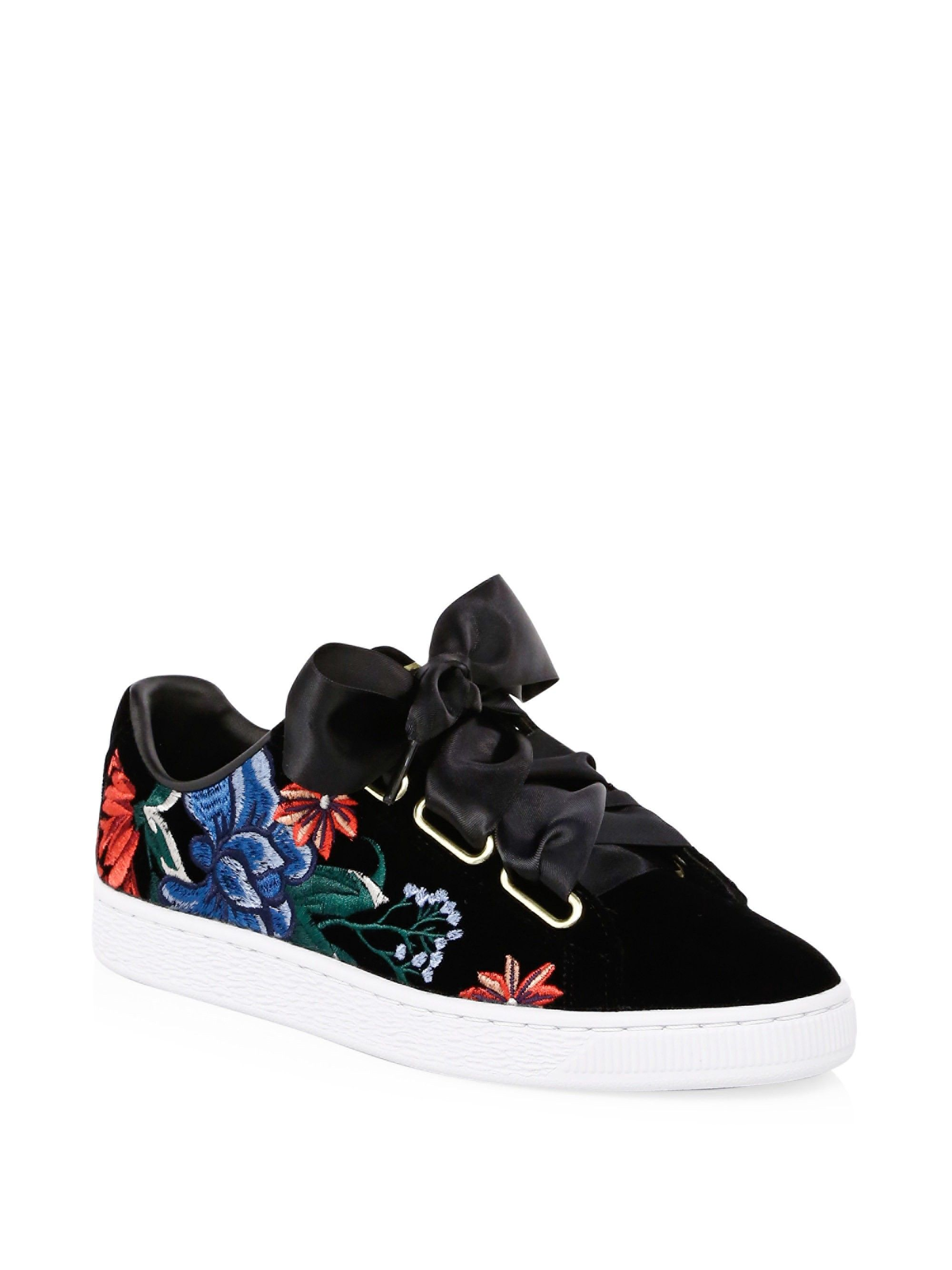 8841528141a Puma Embroidered Velvet Sneakers - Black 10.5