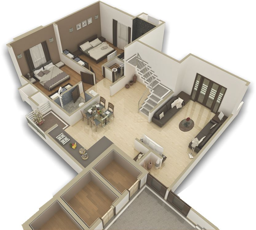 Modern apartment 3d house plans floor plans for Home design 3d 5 0 crack