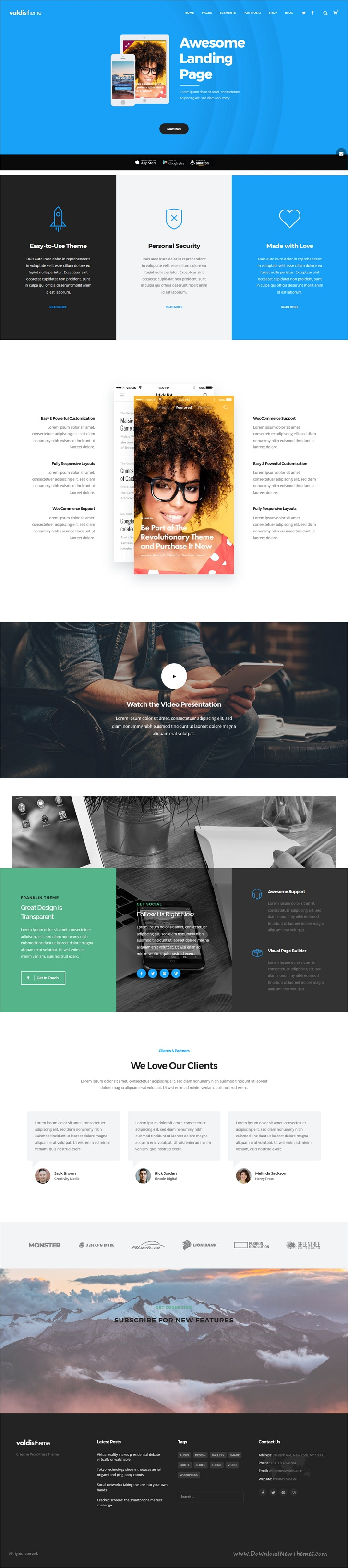 valdis is a clean, creative and powerful responsive #wordpress, Presentation templates