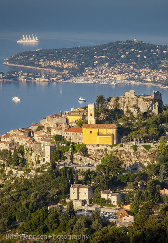 european travel serafini amelia early morning view over eze and the cote d 39 azur provence. Black Bedroom Furniture Sets. Home Design Ideas