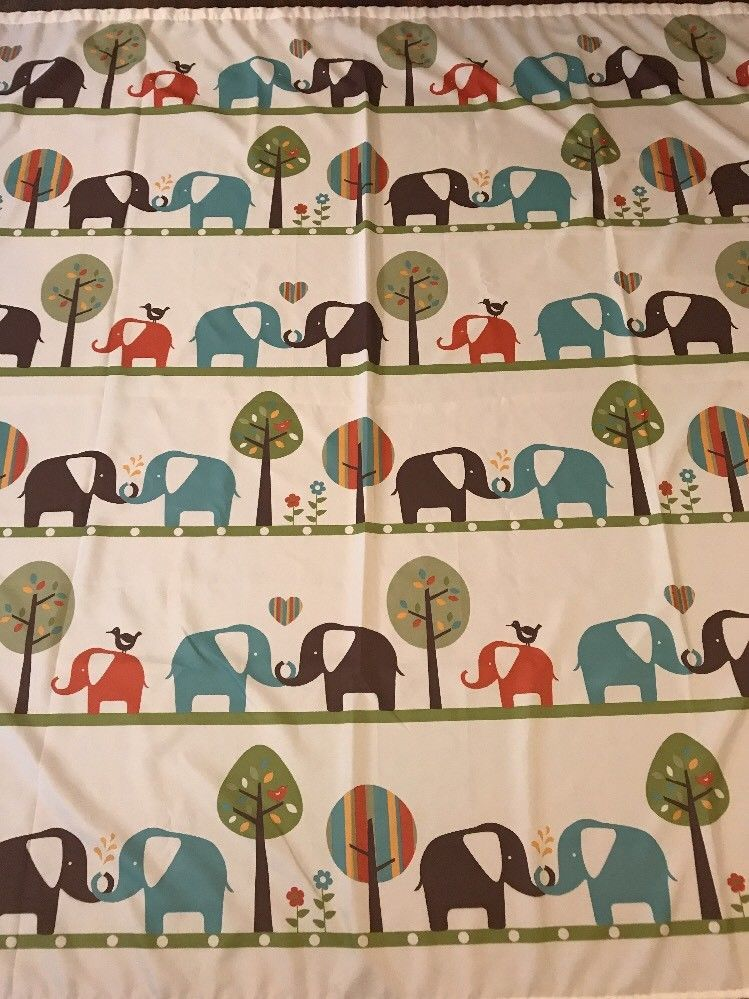 Elephants Fabric Shower Curtain