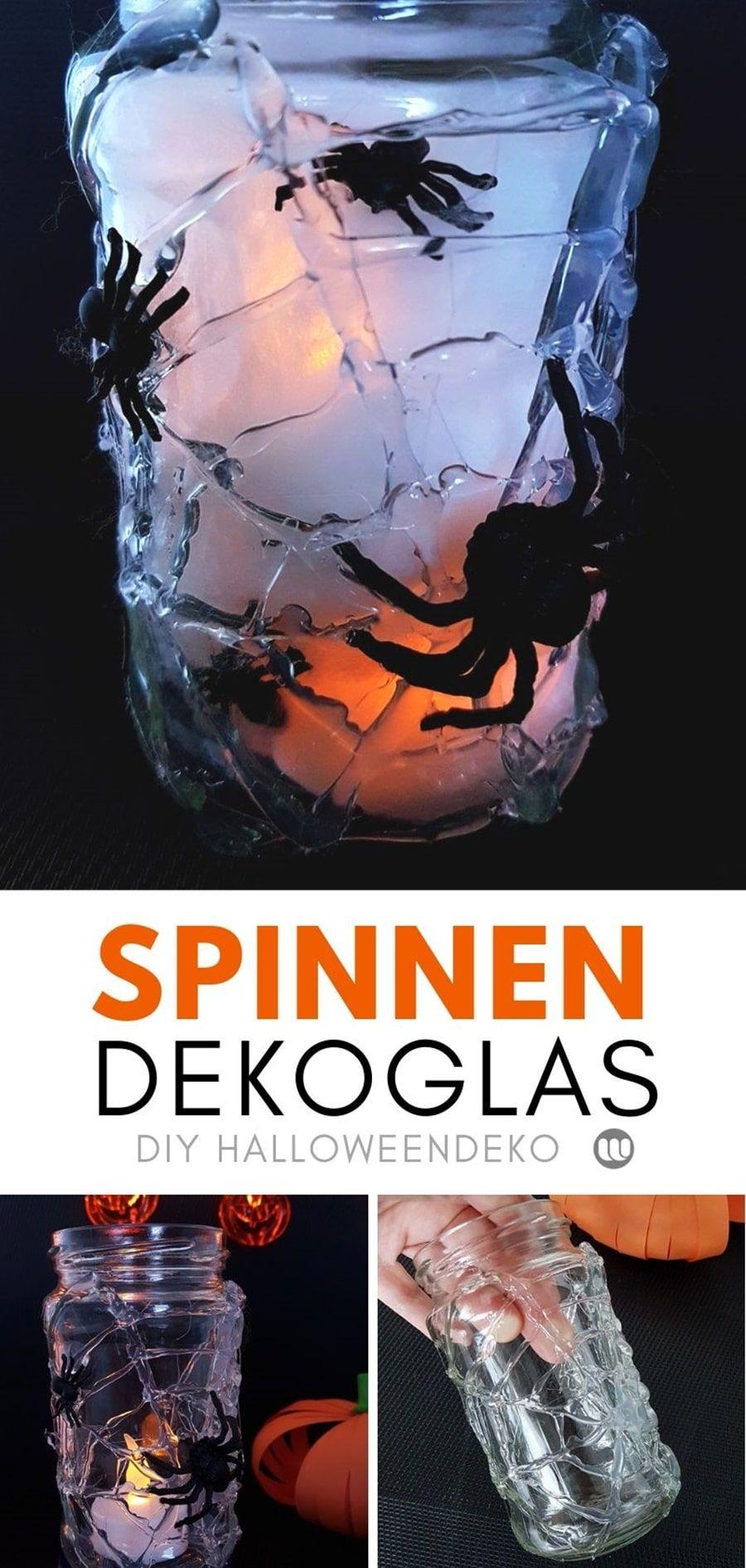 Spinnen im Glas: Dekoration für die Kinder Halloweenparty #spinnennetzbasteln