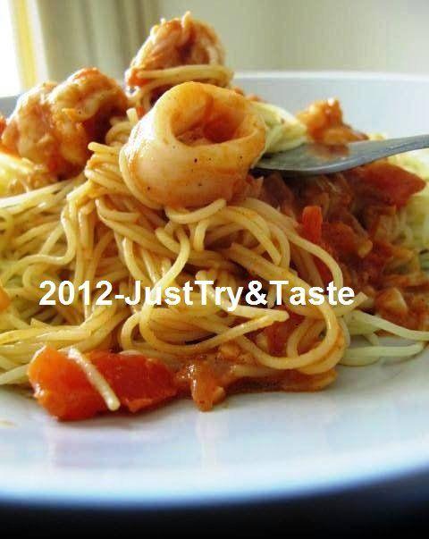 angel hair  saus seafood makanan laut makanan  masakan Resepi Pasta Angel Hair Enak dan Mudah