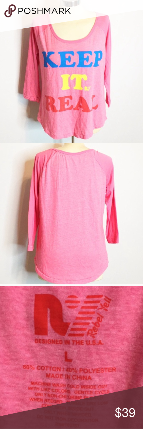 Rebel Yell keep it real raglan graphic tee Rebel Yell keep it real raglan graphic  Excellent condition   🚫no trades 🚫no holds 🚫no modeling 🚫no lowballing ✅reasonable offers ONLY, offers more than 50% off will result in being blocked  AG06853 Rebel Yell Tops Blouses