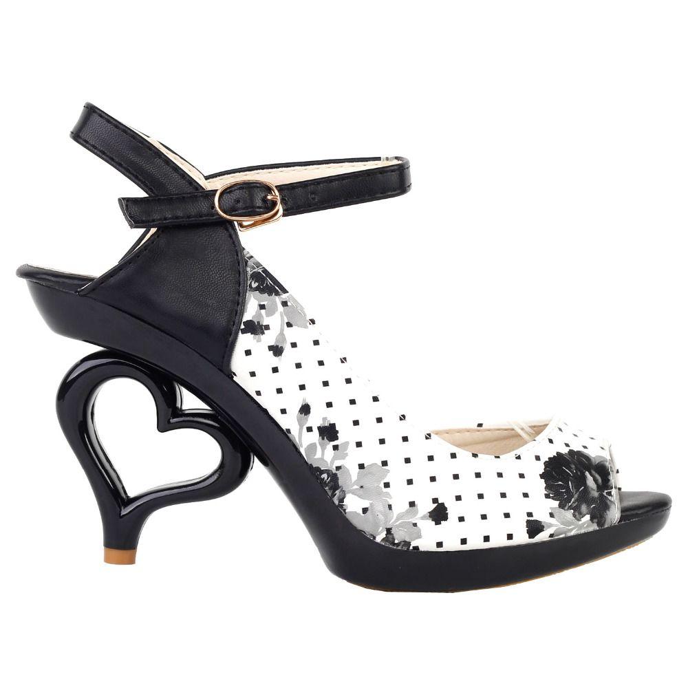 Lf60809 sexy black white flower bride wedding heart heels sandals lf60809 sexy black white flower bride wedding heart heels sandals size 456 mightylinksfo