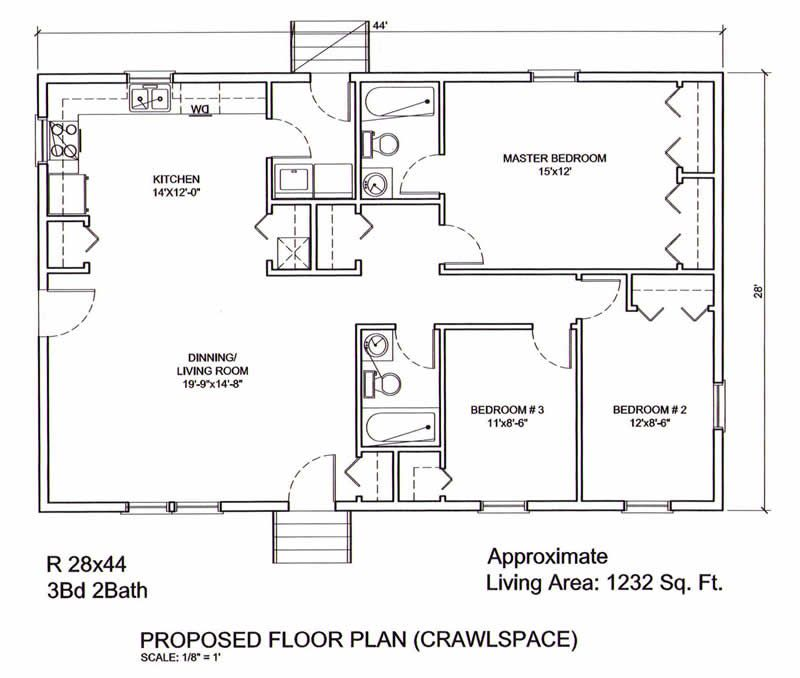 Garage Plans Blueprints 28 Ft X 28ft With Dormers: 32'X44' Open House Plan - Google Search