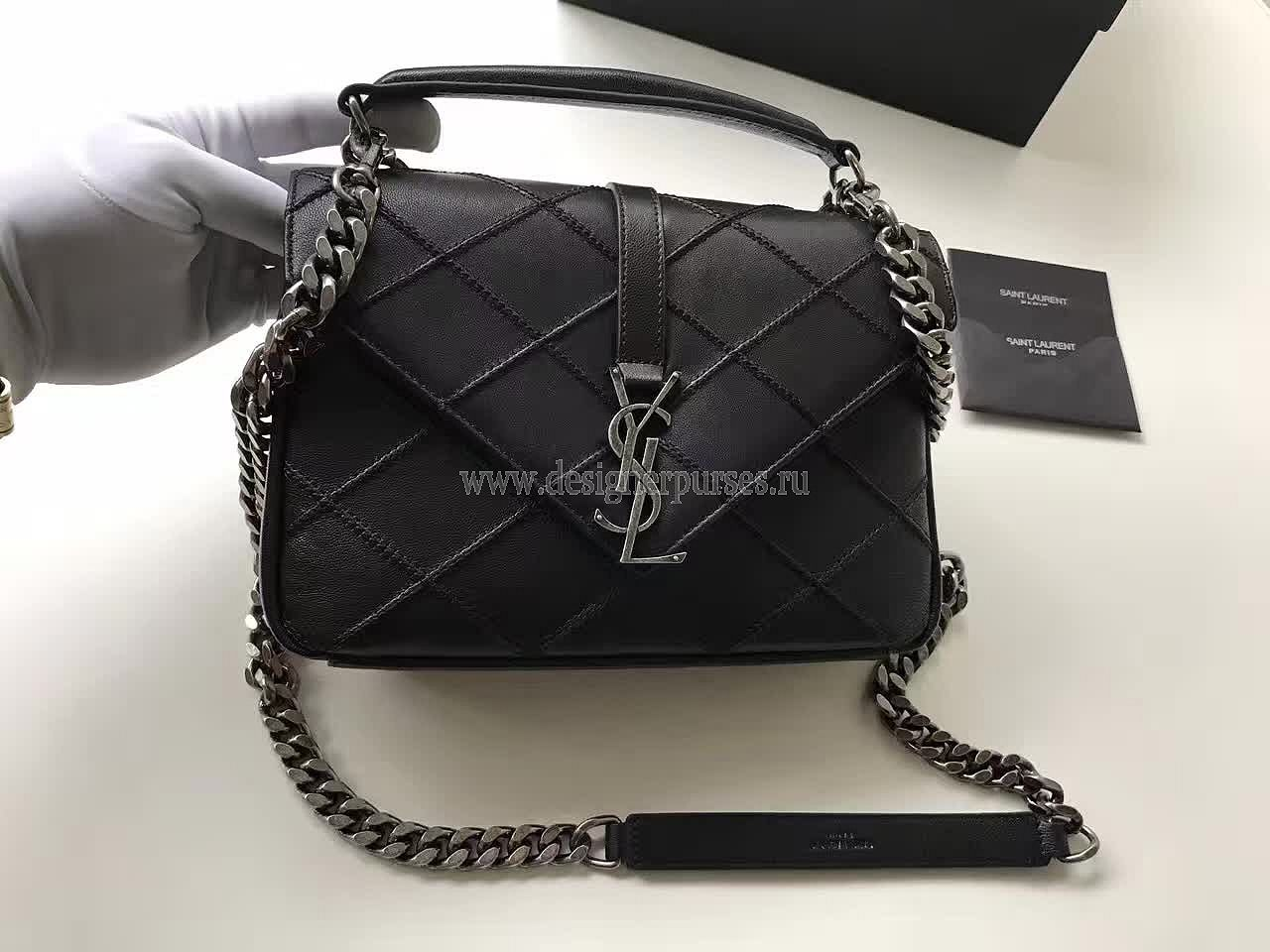 CLASSIC+SAINT+LAURENT+TOP+HANDLE+BAG+WITH+METAL+CHAIN+AND+LEATHER+REMOVABLE+ SHOULDER+STRAP 350e1c2c628c9