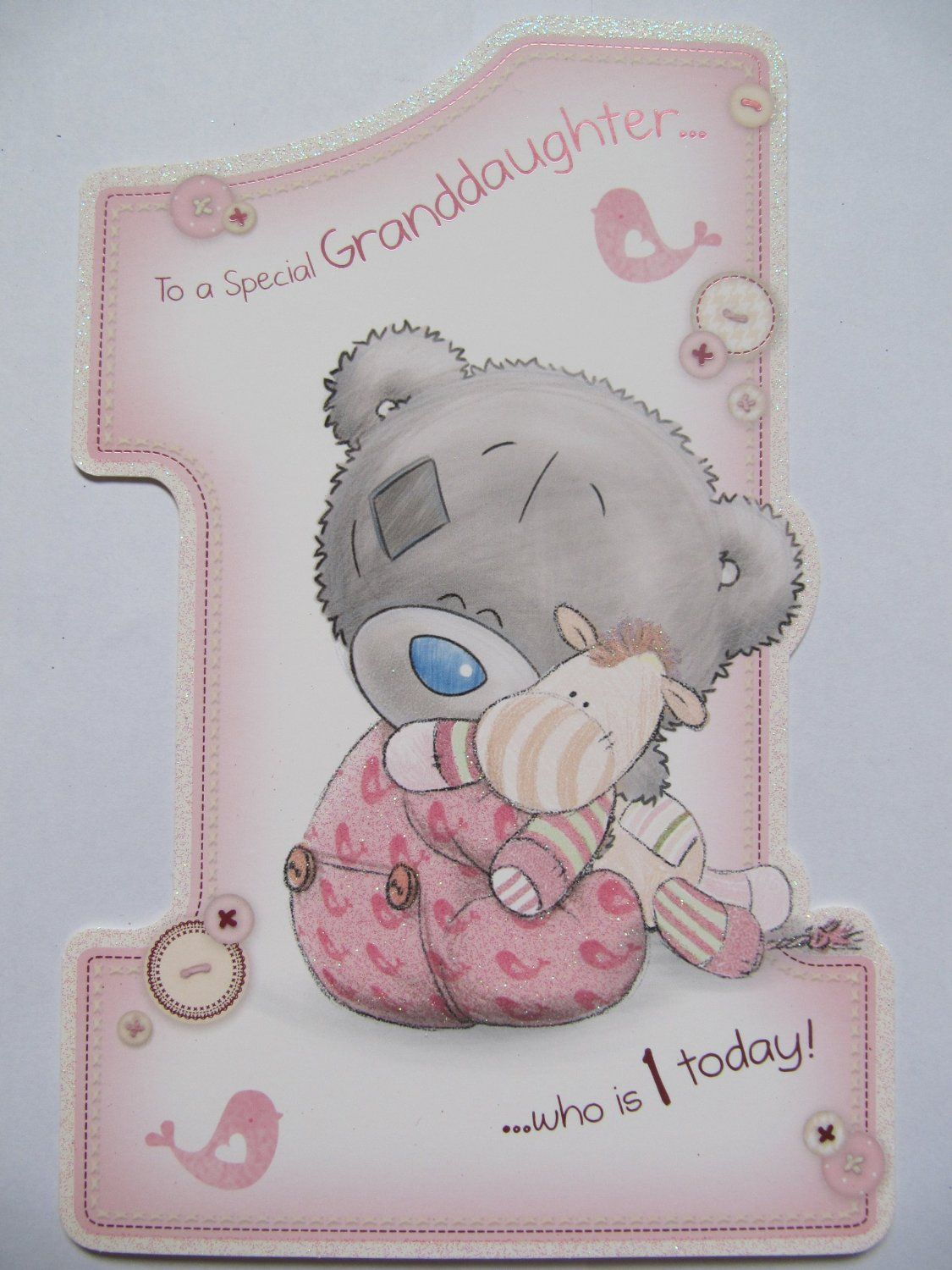 Me To You Tatty Ted Special Granddaughter Who Is 1 1st Birthday Greeting Card Amazon Co Uk Kitc First Birthday Cards Card Making Birthday Kids Birthday Cards
