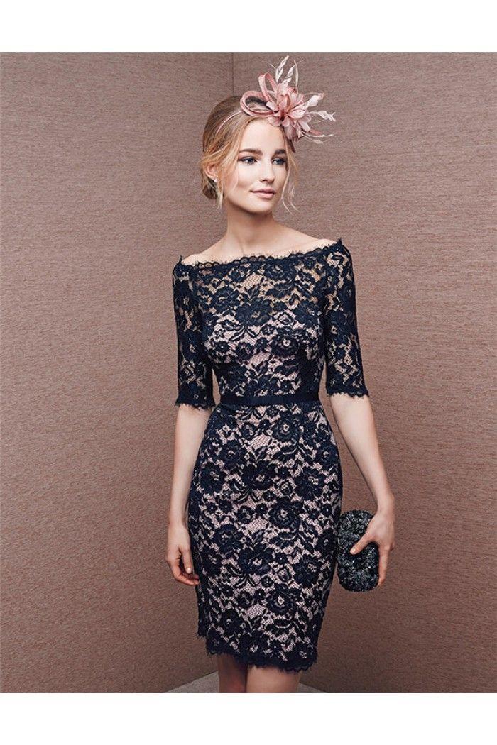 4b36d611d97 Sheath Off The Shoulder Short Sleeve Navy Blue Lace Formal Evening Dress