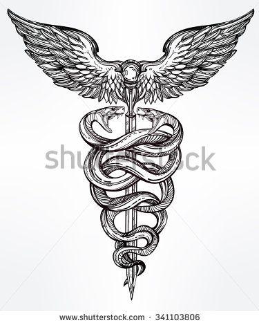 Caduceus Symbol Of God Mercury Highly Detailed Snakes Wrapped