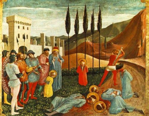 """FRA ANGELICO - """"Decapitação de São Cosme e São Damião"""" 1438-40, têmpera sobre madeira, 36x46 cm Museu do Louvre, Paris."""