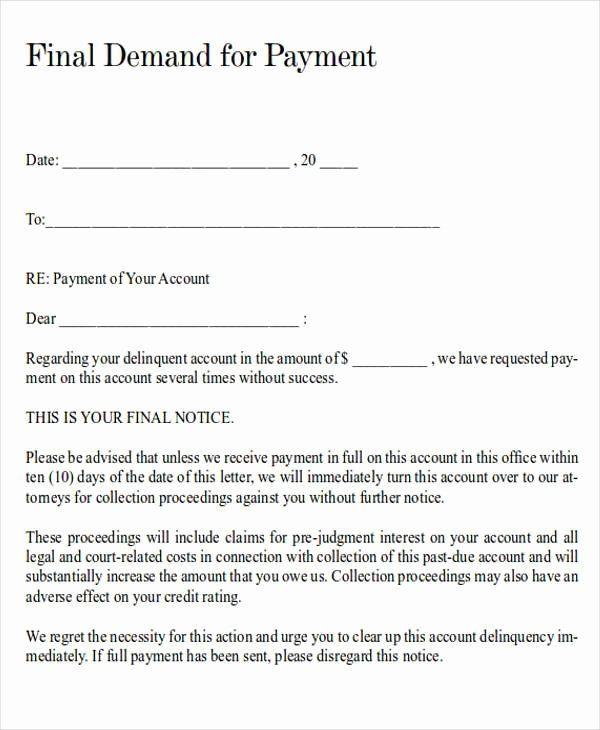 demand for payment letter template inspirational demand