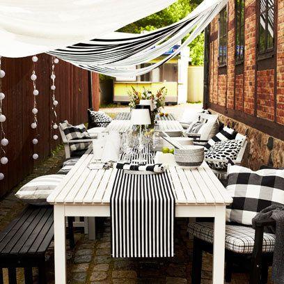 monochrome table setting small garden ideas interiors redonlinecouk