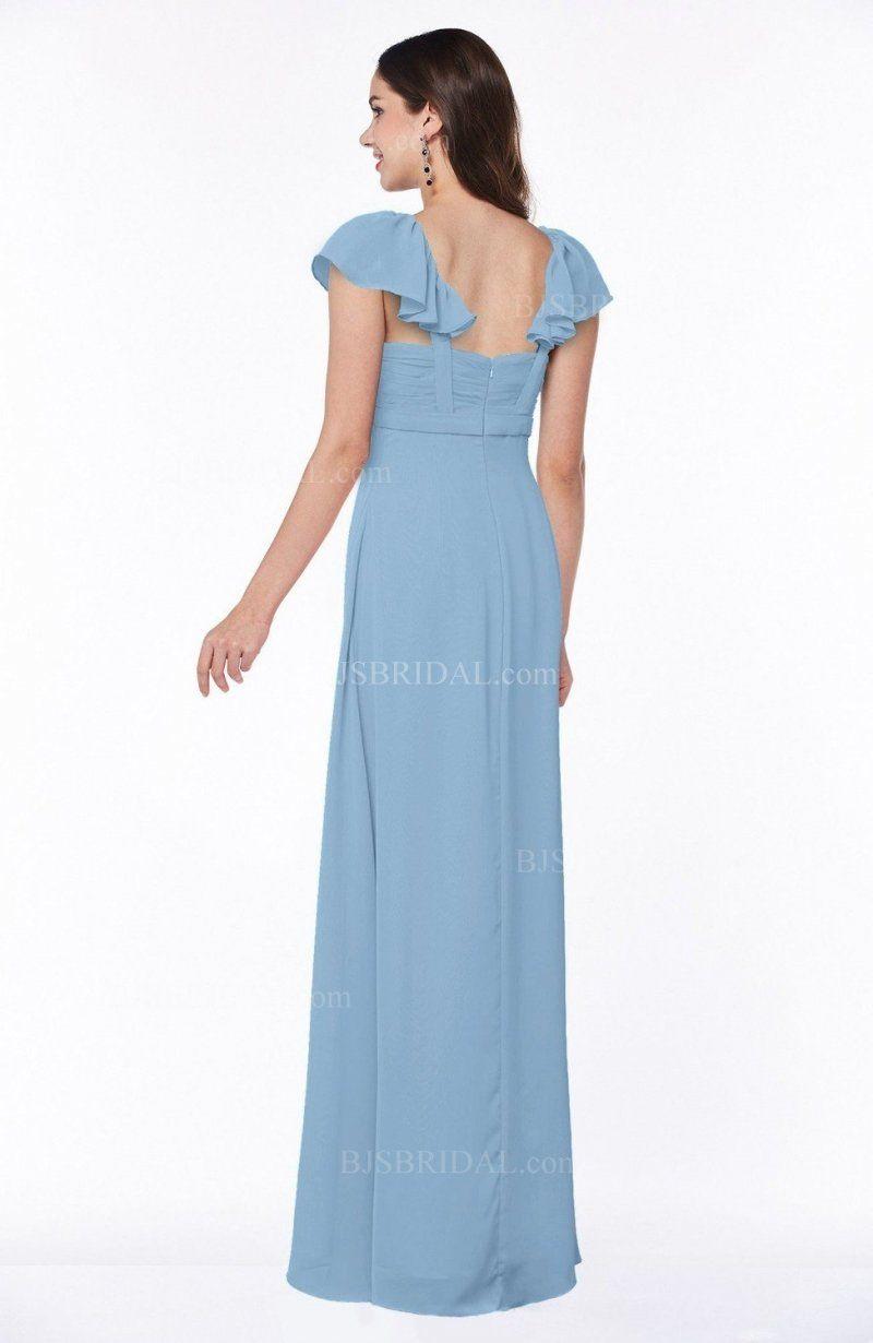 Sky blue bridesmaid dress modern portrait short sleeve floor