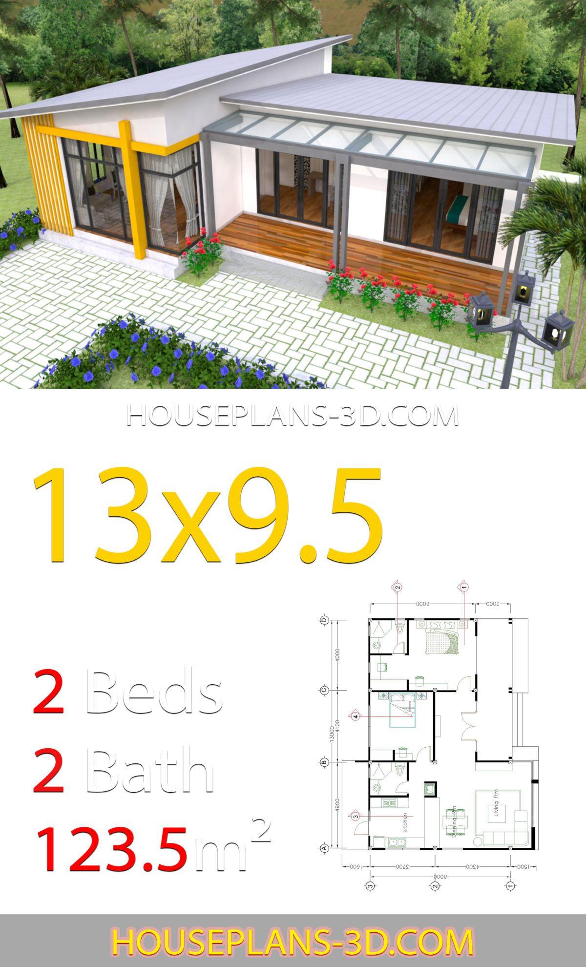 House Design 13x9 5 With 2 Bedrooms Slop Roof House Plans 3d House Plans House Blueprints Container House Plans