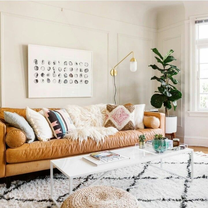Tan Leather Couch Living Room Wall Design Boho With Sofa Home Decor In 2019