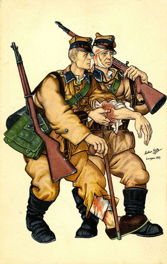 16 June 1894 13 September 1951. Shows two injured soldiers
