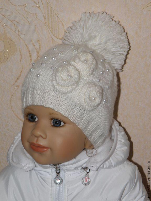 купить шапка для девочки белый однотонный шапка вязаная спицами