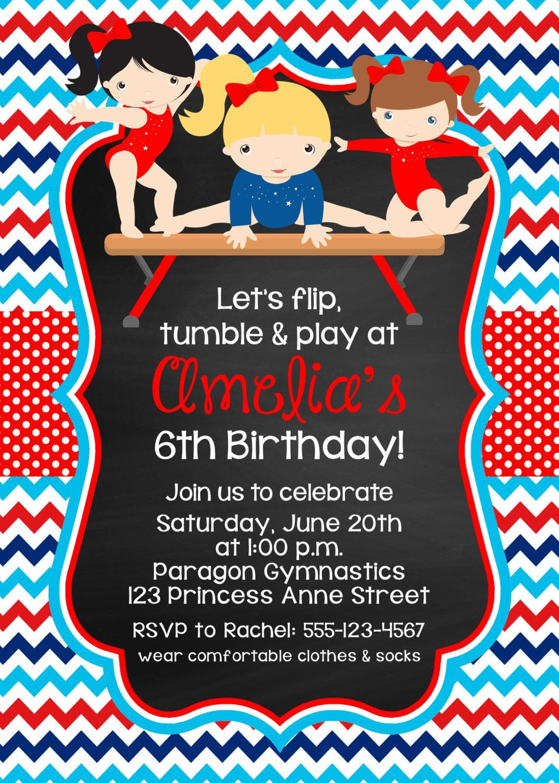 PRINTABLE Gymnastics Birthday Party Invitation / Tumbling Party ...