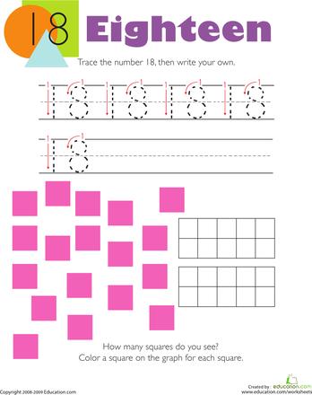 tracing numbers counting 18 kindergarten kindergarten math worksheets kindergarten. Black Bedroom Furniture Sets. Home Design Ideas