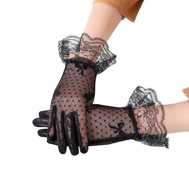 Ladies Gothic Fashion Fishnet Mesh Floral Long Fingerless LACE GLOVES Black Hot