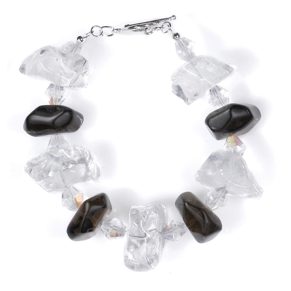 B025004* - Smoky and Clear Quartz Bracelet