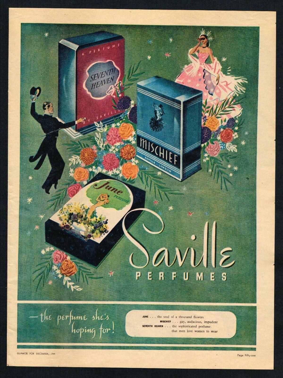 SAVILLES PERFUMES AD PERFUME ADVERTISING Original 1949