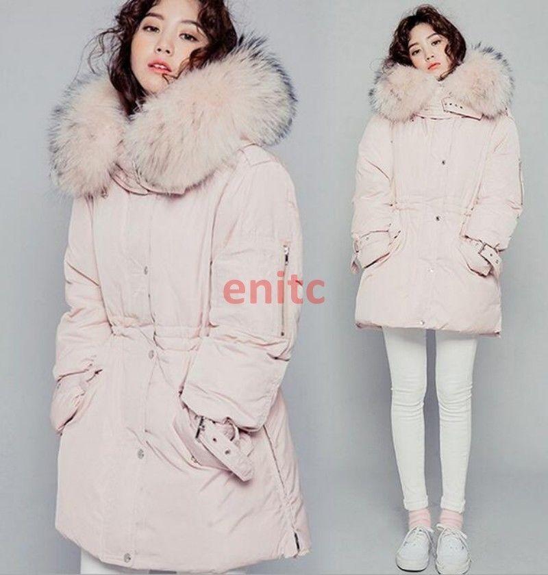 Korea Womans Warm Outwear Parka Full Length 4Color Fur Hooded Winter Coat Jacket