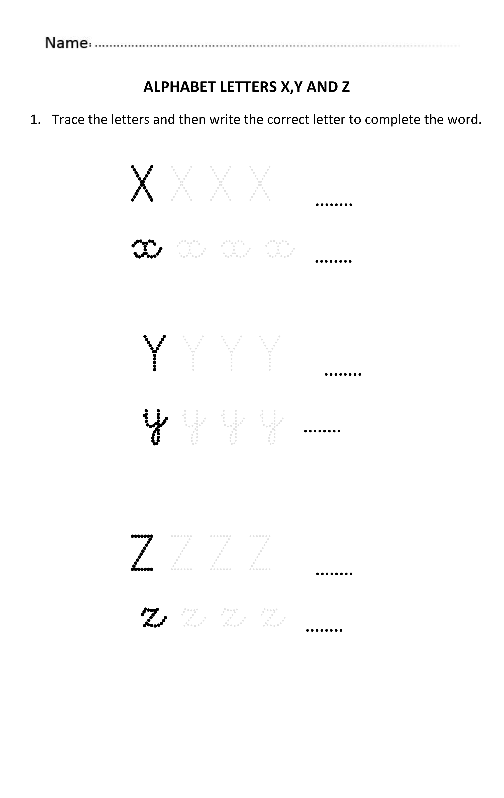 Learning And Writing Letters X Y And Z For 5 And 6 Years