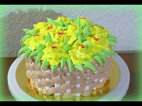 Как сделать торт корзина с цветами фото 263