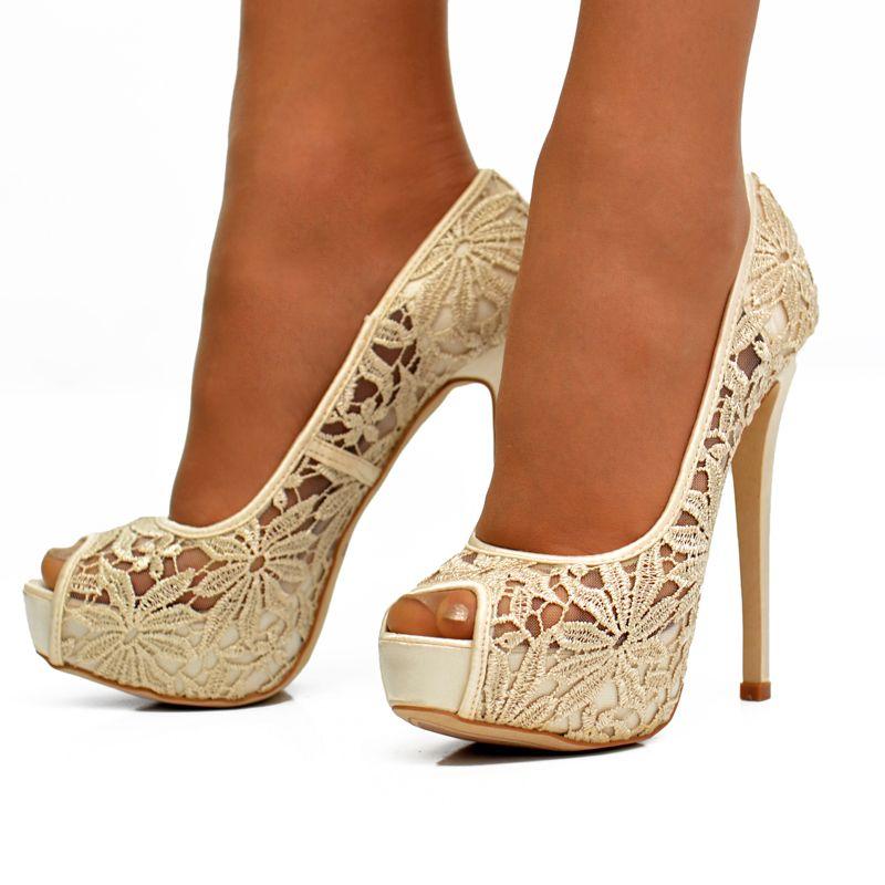 Lace Bridal Shoes | Beige flower lace stiletto high heel ...