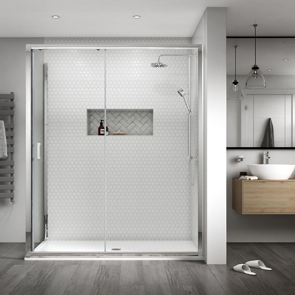Aqualux Shine 8 Semi Frameless Sliding Shower Door 1700mm Wide Silver Frame 8mm Glass Framel Frameless Sliding Shower Doors Sliding Shower Door Shower Doors
