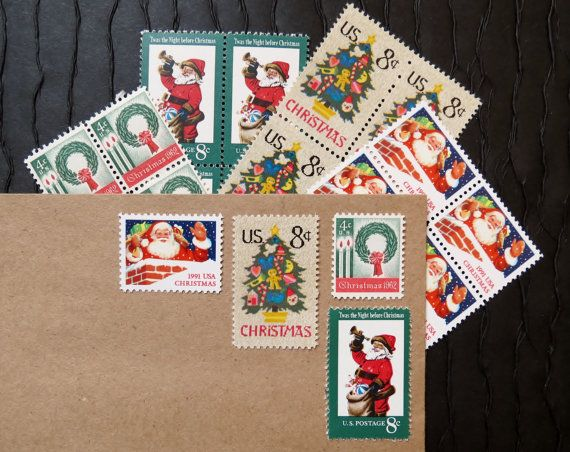 Christmas .. Twas the Night Before .. UNused Vintage Postage Stamps  .. post 5 letters