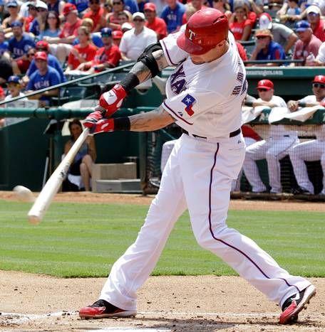 Texas Rangers Josh Hamilton Hits A Two Run Homer During The First Inning Of A Baseball Game Against The D Texas Rangers Texas Rangers Baseball Rangers Baseball