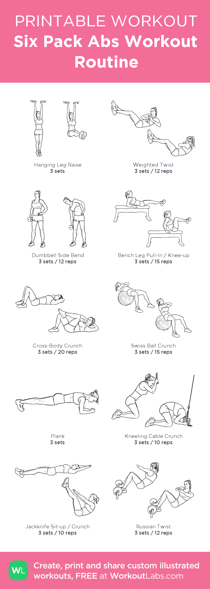 Six Pack Abs Workout Routine My Custom Printable Workout -2547