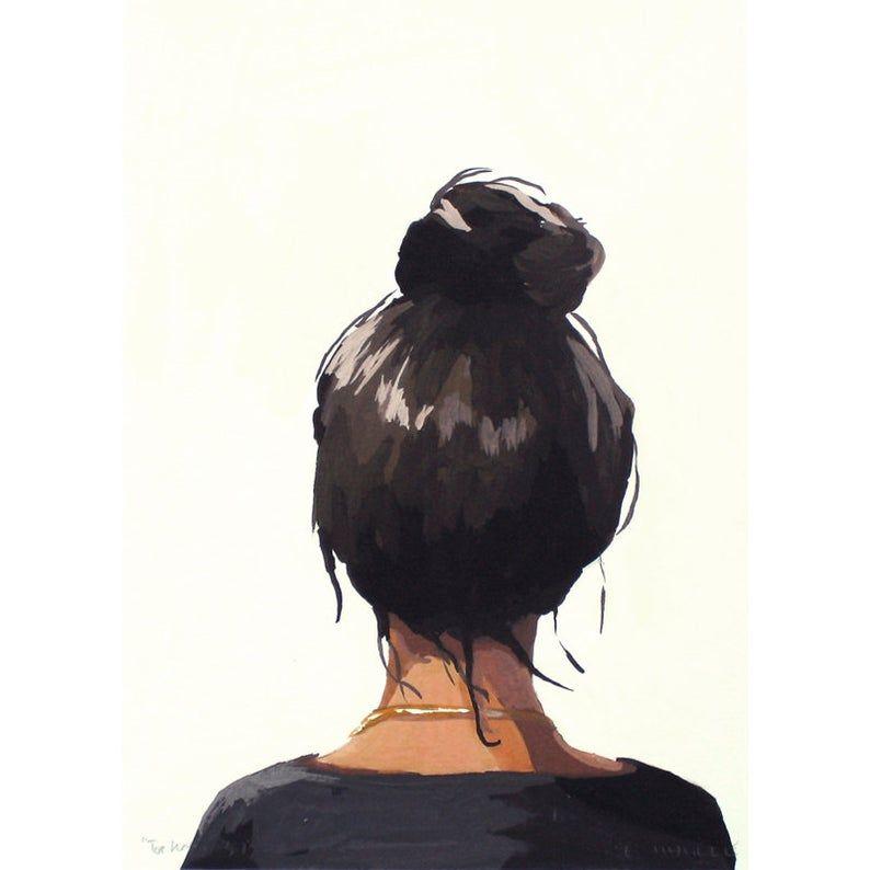 5x7 Hair Art Bun Print Top Knot 37 Etsy In 2020 Illustration Art Girl Hair Art Top Knot