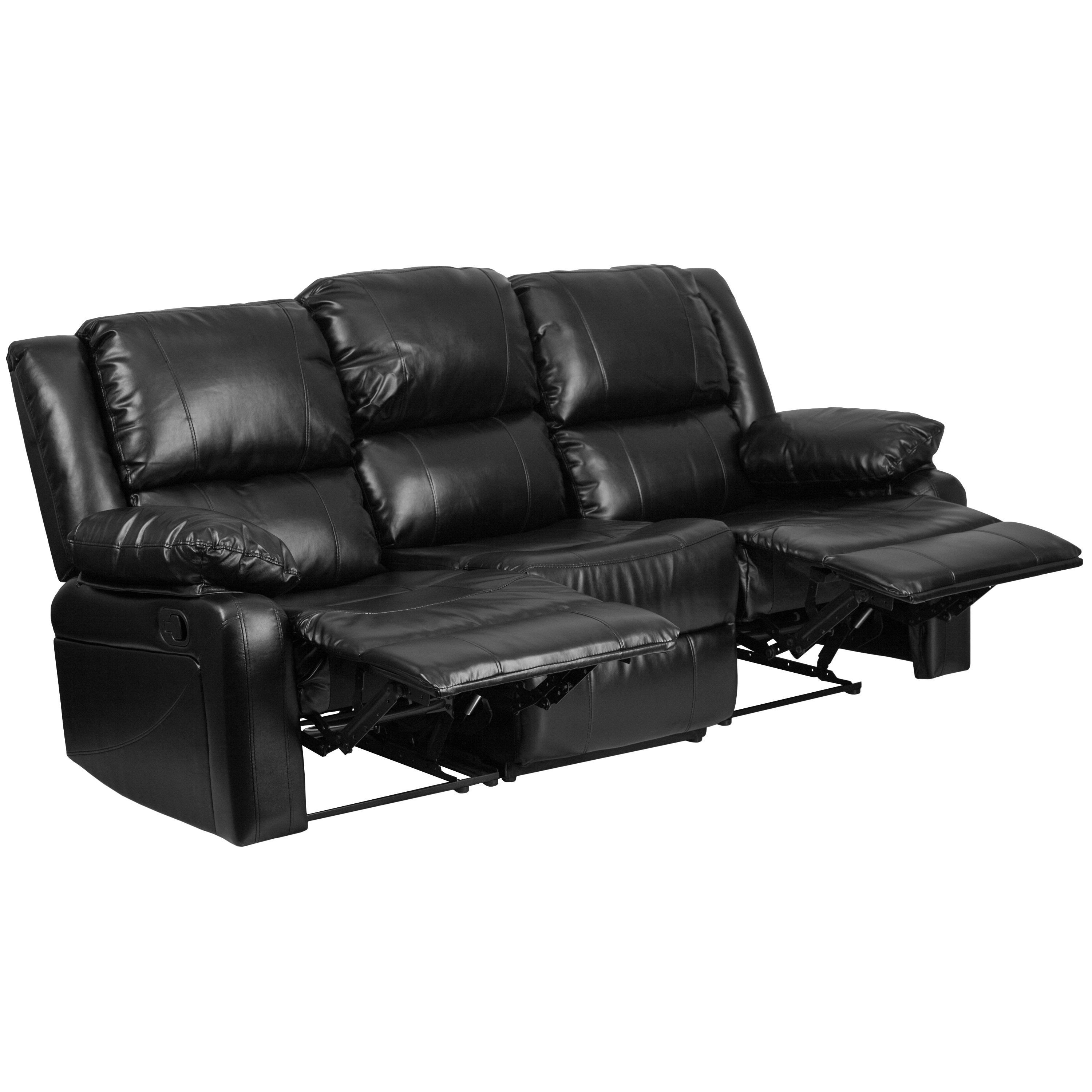 Flash Furniture Harmony Series Leather Sofa With Two Built In Recliners Black