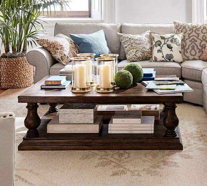 Brilliant Pottery Barn Lorraine Coffee Table Rustic Brown Owl Gray Pabps2019 Chair Design Images Pabps2019Com