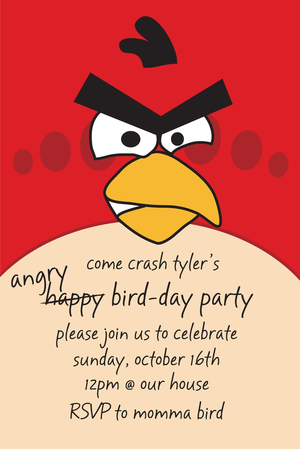 angry birds birthday invitation - ty is obsessed right now | invites ...