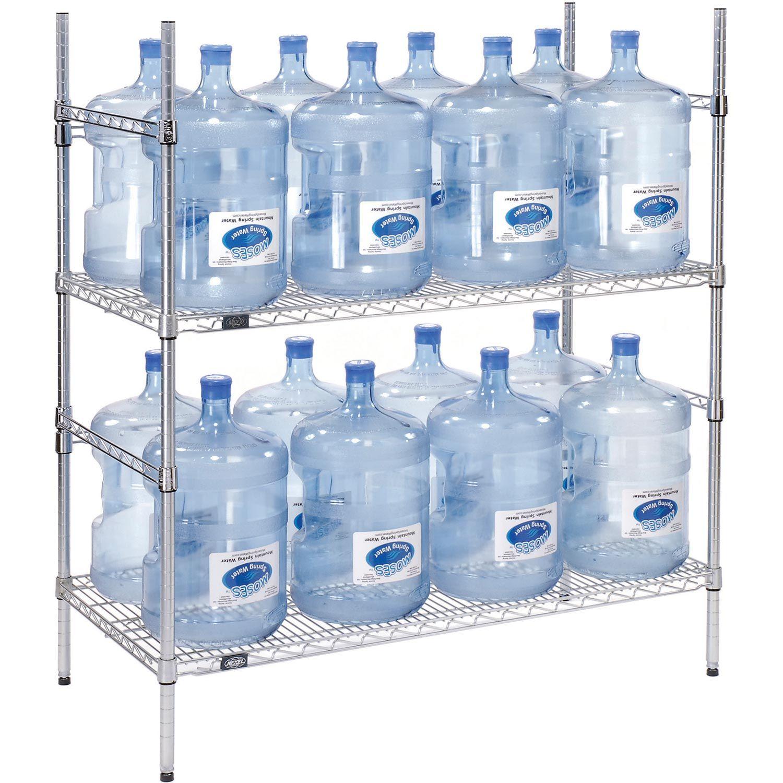 Shelving Food Storage 5 Gallon Water Bottle Storage Rack 16 Bottle Capacity 797087 Water Bottle Storage Water Bottle Storage Rack Bottle Storage Rack