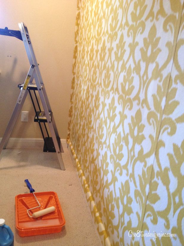 How To Wallpaper With Fabric Using Starch Cre8tive Designs Inc Starched Fabric Wall Wall Covering Ideas Diy Home Diy