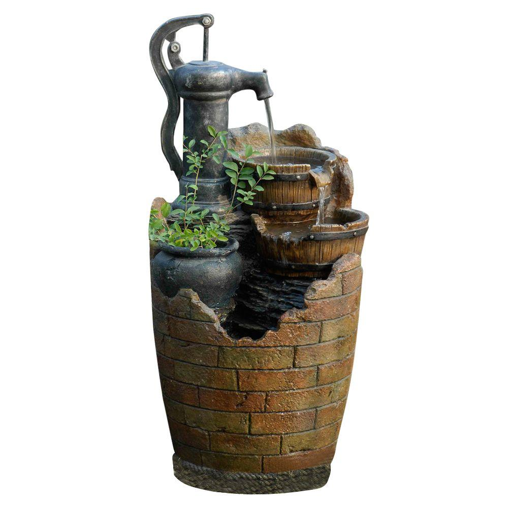 Glenville Water Pump Cascading Water Fountain Fcl003 The Home Depot In 2020 Indoor Water Fountains Water Fountain Solar Fountain