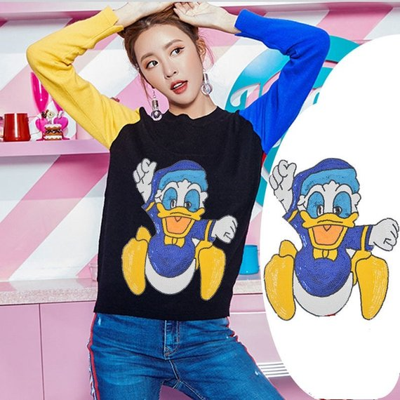 8571b1e2adf8 Large Donald Duck Cartoon Sequined Applique Patch,Paillette Patch,Sequins  Cartoon Patch Supplies for