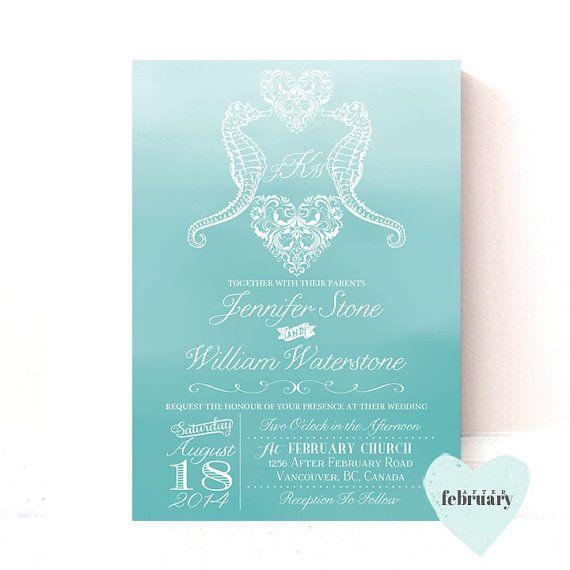 Seahorse Wedding Invitation Monogram By Afterfebruary