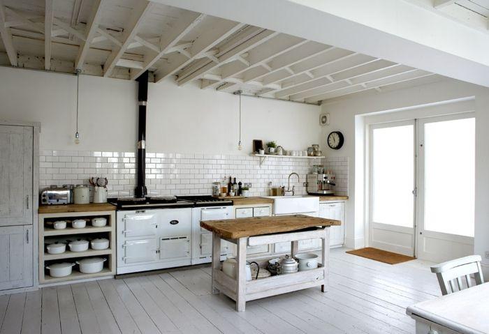 räumliche-Küche-Kochinsel-weißes-Interieur-modern-rustikal ...